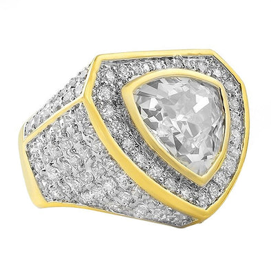 Gold .925 Sterling Silver Trillion CZ Bling Ring