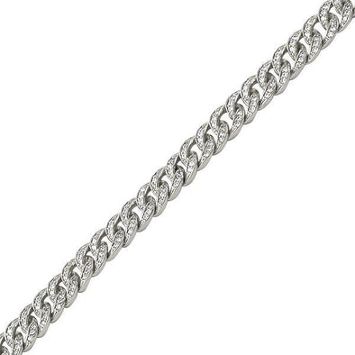 ".925 Silver 6MM CZ Bling Bling Gold Cuban Links Bracelet (8"")"