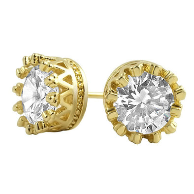 Gold Crown Round CZ Bling Bling Earrings