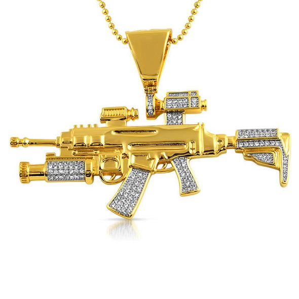 Gold CZ Military Machine Gun Bling Bling Pendant