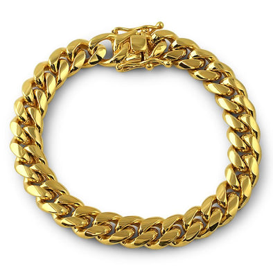 3X IP Gold Miami Cuban Bracelet Stainless Steel 12MM