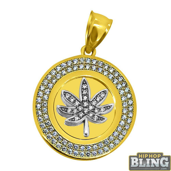 CZ Pot Leaf Weed 420 Micro Medallion Pendant 10K Yellow Gold