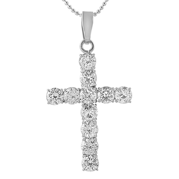 Large 8MM CZ Bling Bling Cross Stainless Steel