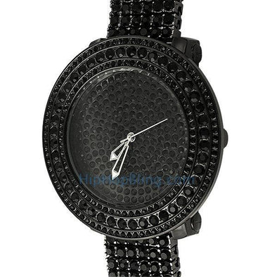 Bright Black Custom Bling Bling Watch & Band