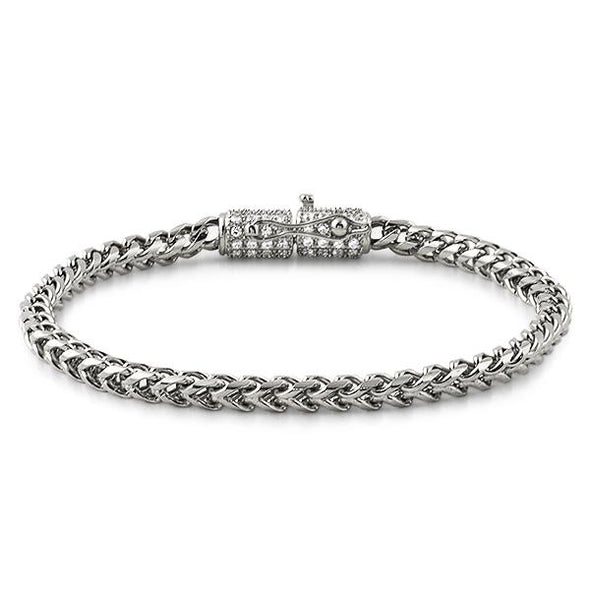 CZ Clasp 4MM Stainless Steel Franco Bracelet
