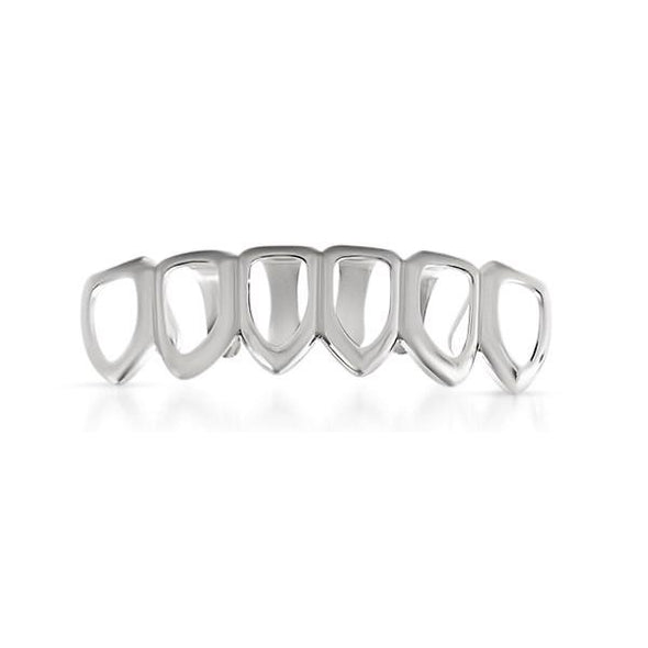 Grillz Silver 6 Tooth Outline Bottom Teeth