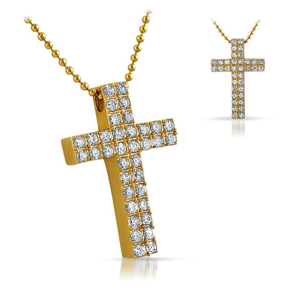 Gold Double CZ Diamond Cross 316L (Free 36 Inch Bead Chain)