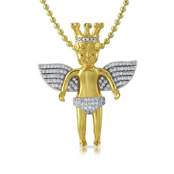 Cherub Angel Crowned Gold Micro Pave Pendant