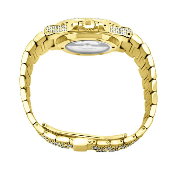 Modern CZ Stainless Steel Watch in Gold