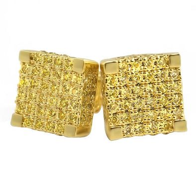Large 3D Cube Canary Gold CZ Iced Out Earrings