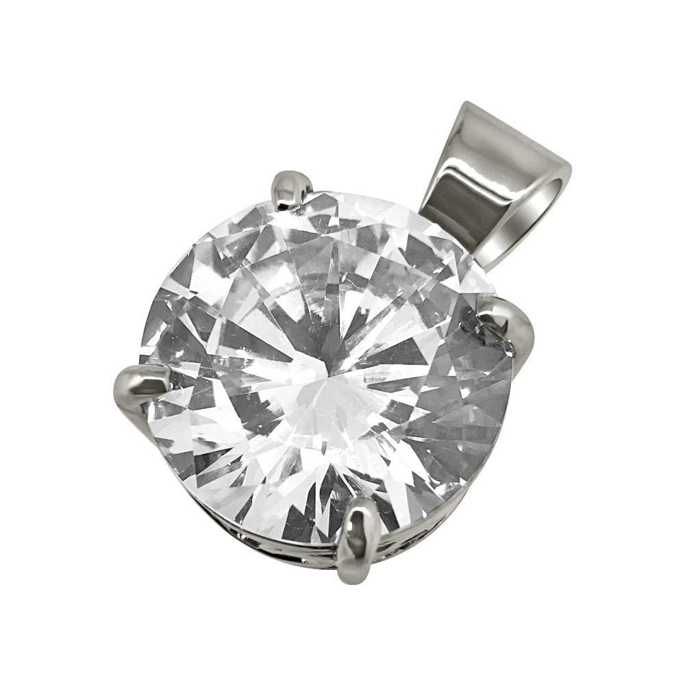 925_Silver_15MM_CZ_Solitaire_Rhodium_Bling_Bling_Pendant