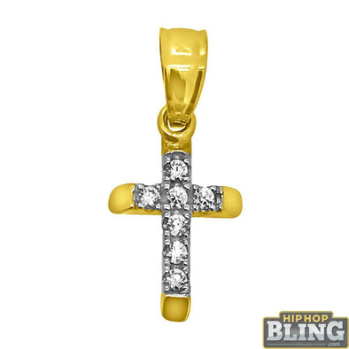 Centimeter CZ Bling Cross Hollow 10K Gold