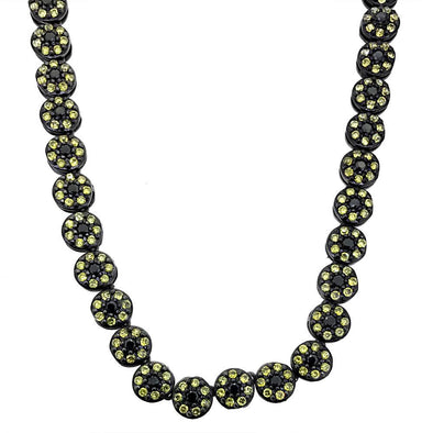 CZ Cluster Bling Bling Chain Black and Yellow