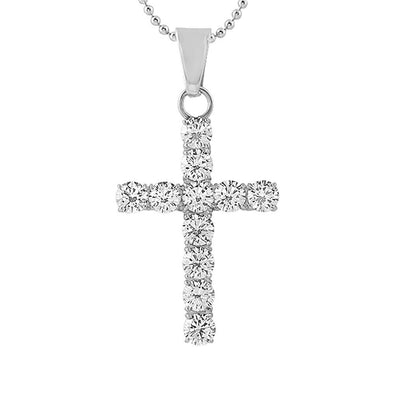 6MM CZ Bling Bling Cross Stainless Steel (Free 36 Inch Bead Chain)