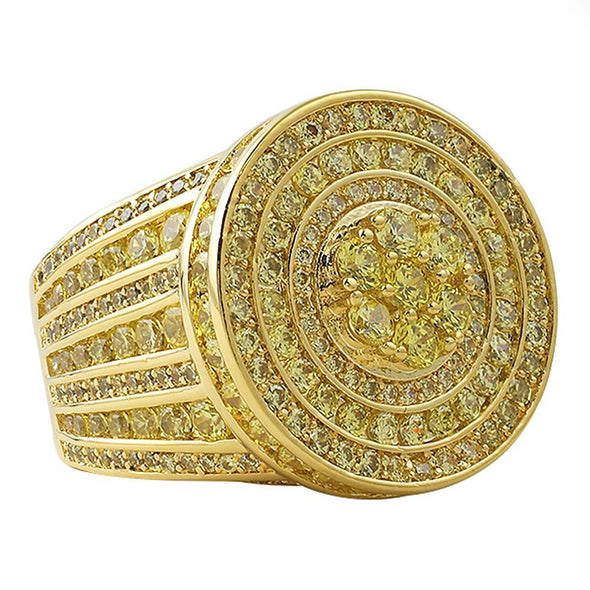 Canary Lemonade Gold Jumbo Cluster Hip Hop Ring (7)