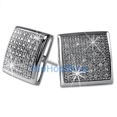 XXL CZ Puffed Box Bling Bling Micro Pave Earrings .925 Silver