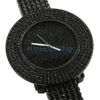 Black Totally Iced Out Bling Bling Custom Watch