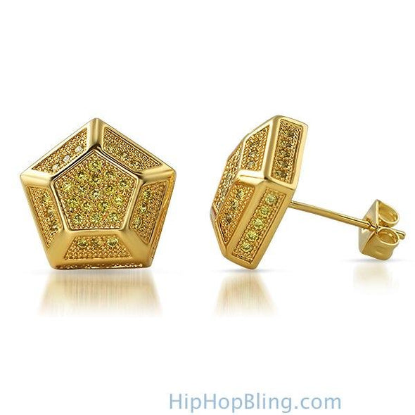 3D Pentagon Lemonade CZ Bling Bling Earrings