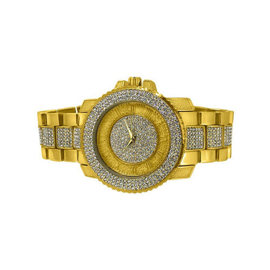 Bling Bling Gold Hip Hop Watch Bracelet Set