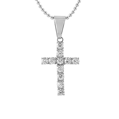 4MM CZ Bling Bling Cross Stainless Steel