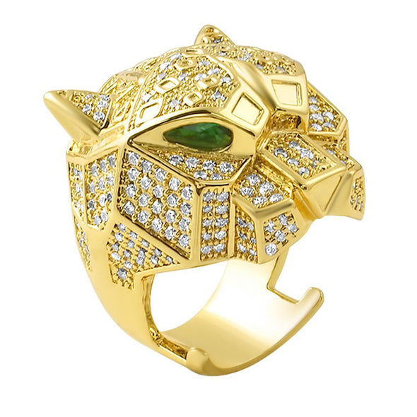 3D Tiger Micro Pave Gold Bling Bling Ring