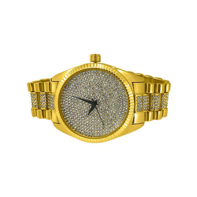 Gold Bling Bling Dress Watch Bracelet Set