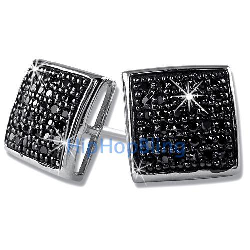 Large Puffed Box Black CZ Micro Pave Earrings .925 Silver