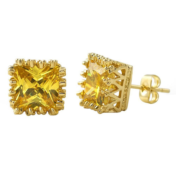 Canary Gold Big Crown Princess Cut CZ Earrings