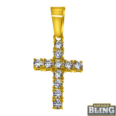 3MM CZ Tennis Cross Bling Bling Gold Steel