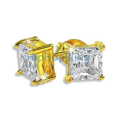5mm Princess Cut Signity CZ Gold Vermeil Earrings