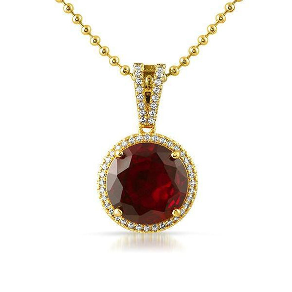 Lab Ruby Round Gem .925 Silver Halo Pendant