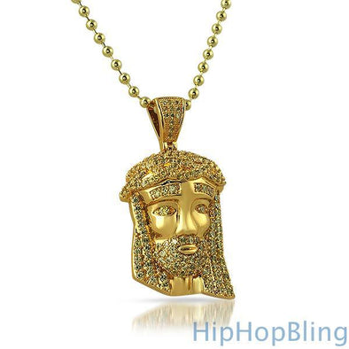 Canary Gold Micro Jesus Pendant