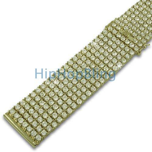 Custom CZ 7 Row Iced Out Gold Watch Band 24mm