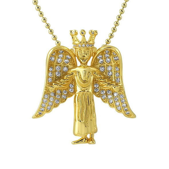 Crowned Angel Wings Mini CZ Gold Pendant