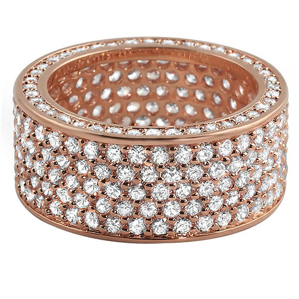 360 Rose Gold Eternity CZ Bling Bling Ring