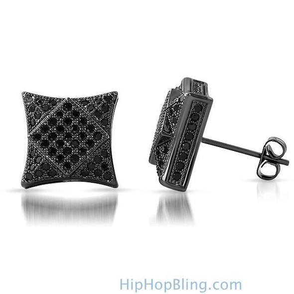 3D Square in Kite Black CZ Micro Pave Bling Earrings