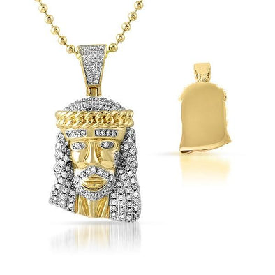 Gold Cuban Crown Micro jesus Pendant