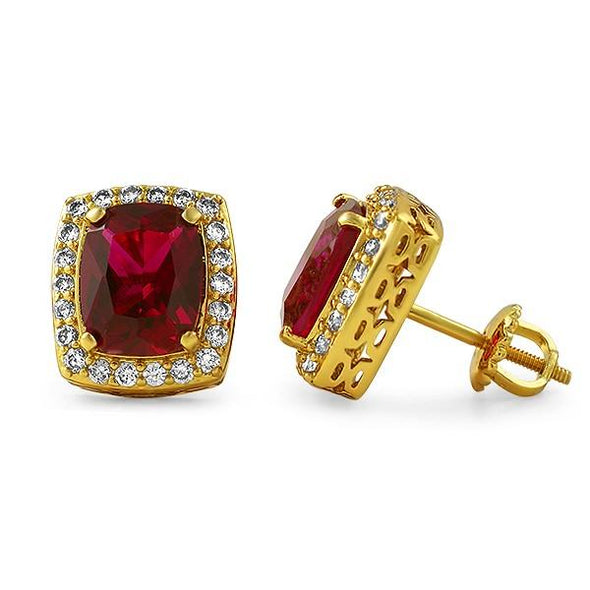 .925 Silver Gold Lab Ruby Rick Ross Style Earrings