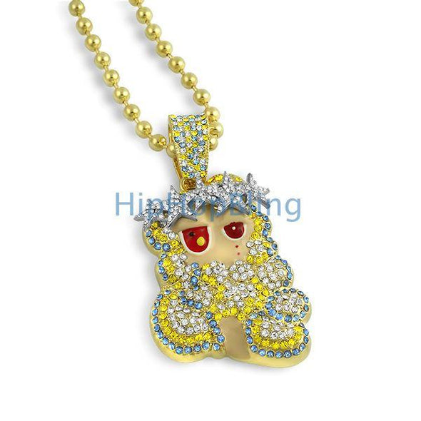 Gold Cartoon Jesus Piece Custom Made Kanye West Style
