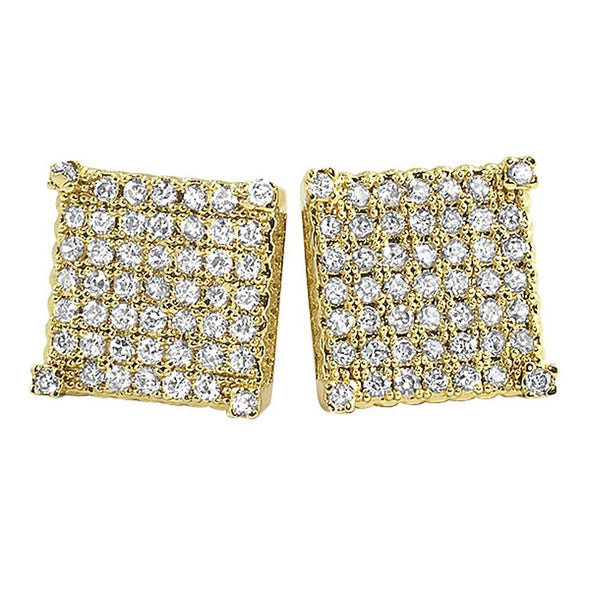 Custom Micro Pave Earrings Gold CZ Cube