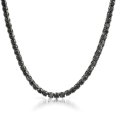 .925 Silver 4MM CZ Bling Tennis Chain Black