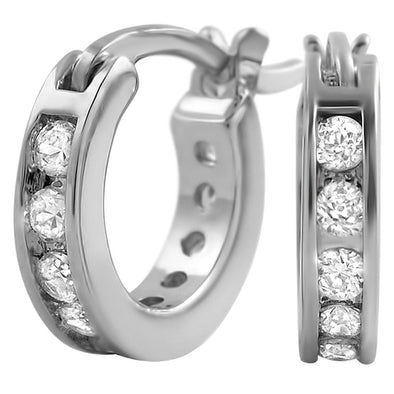 Channel Hoop Rhodium CZ Bling Bling Earrings
