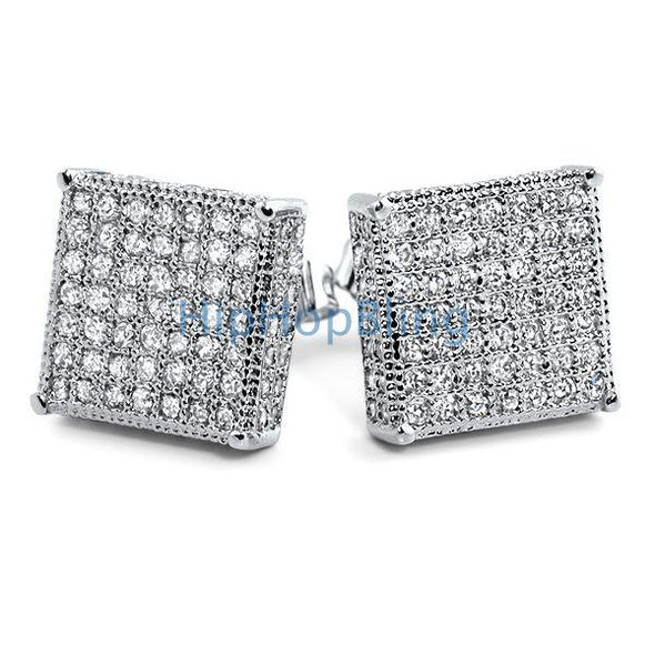 3D Box XL CZ Micro Pave Bling Bling Earrings