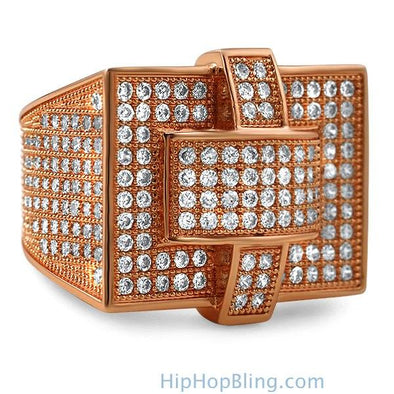 Cross Iced Out Rose Gold CZ Bling Bling Ring