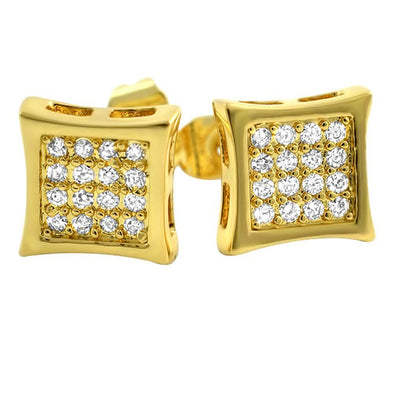 Kite 32 Stone CZ Gold Earrings