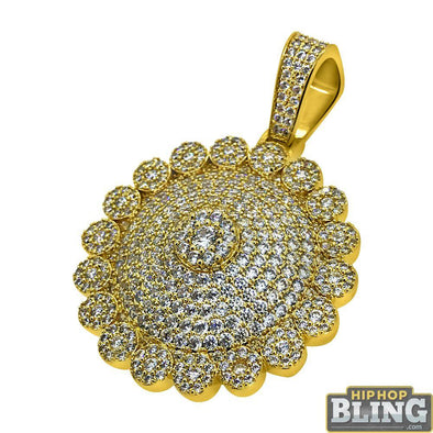 Cluster Mega Bling Gold CZ Medallion