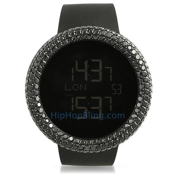 Digital Custom Rounded Black CZ Bezel Bling Watch