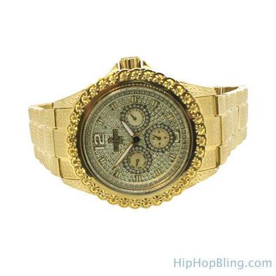 Heavy Gold 1 Row .25cttw Diamond Watch