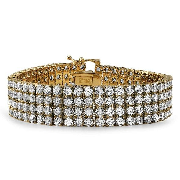 Simulated Diamond 4 Row Bracelet Gold Stainless Steel