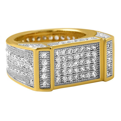 Gold Bar CZ Bling Bling Ring